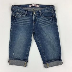 Hollister Girls 1 Blue Bermuda Style Jean Shorts
